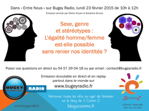15.02.23 Entre Nous Bugey Radio sexe genres stereotypes annonce