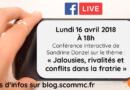 Facebook live : jalousies, rivalités et conflits dans la fratrie, comment gérer ? – 16 avril 2018
