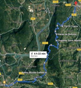 Aventure en famille, itinéraire à pied de Saint genix sur Guiers à Yenne