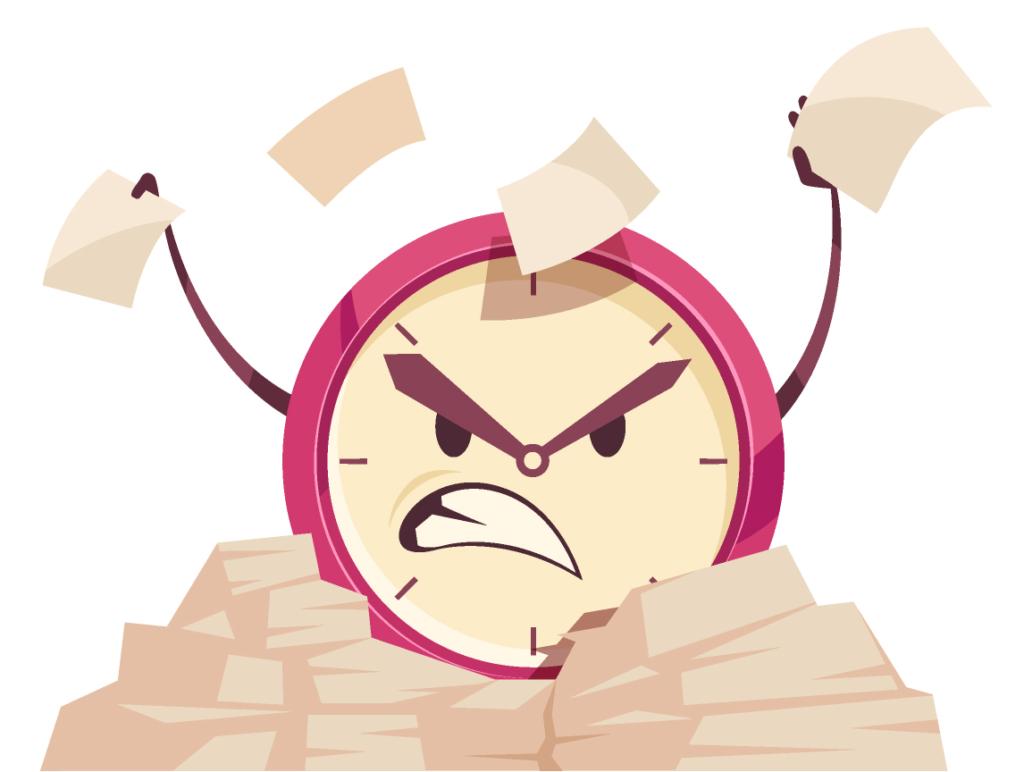 changer notre rapport au temps : dessin de montre en colère