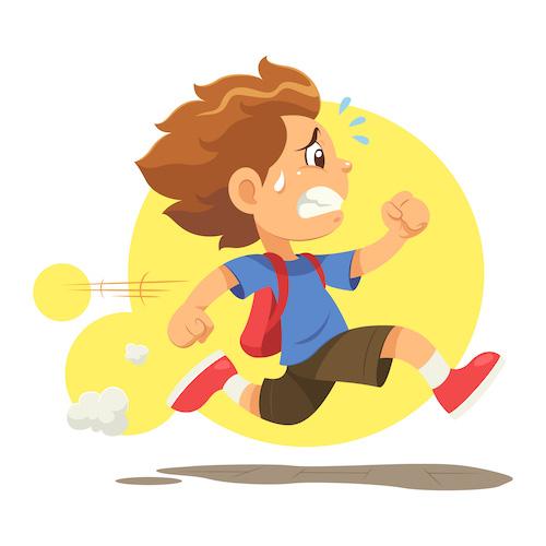 la-continuite-pedagogique-ne-signifie-pas-pression-et-stress-! enfant qui court  à l'école