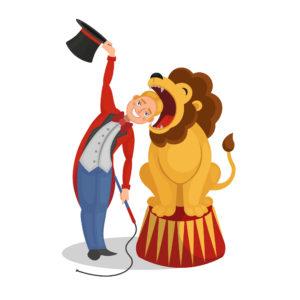 reprendre du pouvoir sur sa colère en l'apprivoisant comme un dompteur apprivoise son lion (dompteur mettant sa tête dans la gueule du lion)